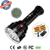 Wholesale Super Strong Led - SKYRAY S88 16T6 Super bright 18000 Lumen 16xXML-T6 LEDFlashlight Strong Torch FlashLight 16T6 LED light+18650 battery+charger
