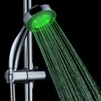 Wholesale Temperature Showerhead - New 2015 High Quality Bath Sprinkler Romantic Round Home Water Glow LED Top Shower Head With Temperature Sensor Showerhead