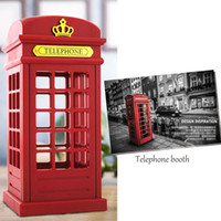 Wholesale Vintage Red Telephone - Wholesale- China Red Vintage Telephone Booth Touch Sensor Control LED Night Lamp for Shop Indoor Outdoor Decoration With Battery +USB Cable