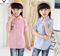 Wholesale Korean Style Shirt New Kids - New kids shirt autumn spring girl shirt children long sleeve stripe shirt Korean style kids clothing 5p l