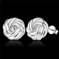 Wholesale Factory Brand Studs - Brand new sterling silver Woven button-type earrings DFMSE377,women's 925 silver Dangle Chandelier earrings 10 pair a lot factory direct