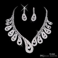 Wholesale cheap star earrings - 2017 Cheap 15042 Hot Sale Womens Bridal Wedding Pageant Rhinestone Necklace Earrings Jewelry Sets for Party Bridal Jewelry