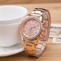 Wholesale Geneva Chronograph Watches - Fashion Geneva Watch Full Steel watches women luxury brand Women Stainless Steel Rhinestone watches Ladies Casual Analog Quartz wristwatches
