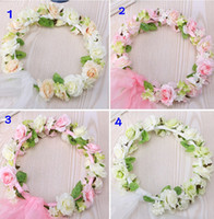 Wholesale Organza Flower Hair - 2015 Flowers Garlands Organza Flower Girl Head Piece with Veil Lovely Top Quality Exquisite Hair Accessories for Wedding Free Shipping