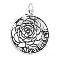 """Wholesale half pendants - Jewelry Findings Charm Pendants Round Antique Silver Flower Pattern """"My Other Half""""Carved 28.9mm x 24.8mm,10 PCs"""