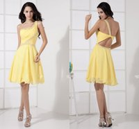 Wholesale Good Quality Prom Dresses - Good Quality One Shoulder Yellow Cocktail Dresses 2015 dresses Latest Style Short Backless Sexy Evenging and Prom dresses for party dress