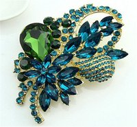 Wholesale Gem Brooch Bouquet - The Brooch Fashionable Joker Gem Crystal Rhinestone Brooches Wedding Bouquet Manufacturer Direct Selling Bowknot Lady Heat In 2015