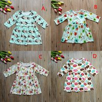 Wholesale Child Feather Costumes - Baby girls feather Donuts print dress Christmas Children Floral princess dresses Xmas kids costume C3082