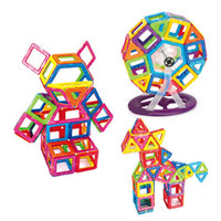 Wholesale Wheel Blocks - 46PCS Kids Creative Toys Educational Magnetic 14*Triangle, 20*Square, 4*Hexagonal, 2*Wheel 3D DIY Building Blocks Set