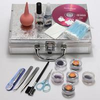 Wholesale Eyelashes False Extensions Kit Glue - 1 Set False Eyelash Individual Fake Eye Lashes Extension Makeup Tools Glue Tweezer Brushes Set Kit Case