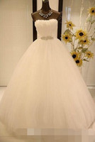 Wholesale Pure White Crystal Wedding Dresses - Amzing Pure 2015 Wedding Dress With Beads Sash Sleeveless Stunning Organza A-Line Strapless Beautiful Bridal Dress Gown Ball Custom Made