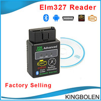 Wholesale Obd Code Reader Bluetooth - HH OBD Mini ELM327 Bluetooth V2.1 OBD2 Diagnostic Scanner elm 327 Bluetooth OBD II Diagnostic Tool Live Data Scan Tool Device Free Shipping