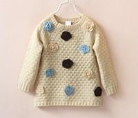 Wholesale Brown Girl Top - 2015 Autumn Girls 3D flowers pullover sweater knitwear kids long-sleeved Tops Sweaters knitting shirt Brown beige