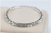 Wholesale Discounts Bracelet - Discount Cheap 1Row Rhinestone Bridal Jewelry Sets Bling Silver plated Stretch Bangle Bridesmaid Bracelet Wedding Accessories Body Chain