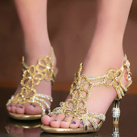 Wholesale Kitten Heel Wedding Shoes Gold - 2015 New Gold & Blue Sandal Floral Crystal Rhinestones 8cm High Heels High Quality Prom Evening Party Dress Women Lady Bridal Wedding Shoes