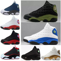 Compra Uomini Reali-(withbox) air retro 13 black cat Hyper Royal oliva Wheat GS Bordeaux DMP Chicago uomo donna basket shoes 13s sport Sneaker scarpe 36-47