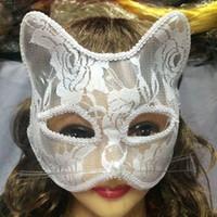 Wholesale Fox Club - Masquerade Sexy Fox Princess Mask Half Face Venice Sexy Lace Party Mask Halloween Night Club Performance Decoration Supplies 10pcs lot SD398