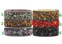 Wholesale Model Show - 2018 hot sales High Quality Gravel Bracelet Natural Crystal Bangle Multicolor Stone Leather Bracelet Paris Fashion Model Show Jewelry