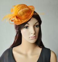 Wholesale Mini Sinamay Hat - Orange mini hat sinamay feather fascinator.