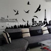 eiffel tower dekorasyon çıkartmaları toptan satış-AY1913 Ücretsiz nakliye duvar sticker, ev dekorasyonu, oturma odası sticker, 60 * 90cm Eyfel Kulesi çıkartmalar