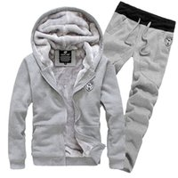 Wholesale Gray Velour Tracksuit - New Fashion Winter And Autumn fall Plus Size Men Sportswear Brand Tracksuits Mens Casual Sports Suit Hooded Sports Free Shipping
