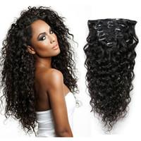 Wholesale Natural Rose Hair - Choshim Slove Rose Water Wave Brazilian Virgin Hair Clip in Human Hair Extensions Natural Color Hair Clip-Ins 8Pcs Set Free Shipping