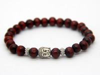 Wholesale Natural Wood Pieces - Wholesale Promotion 12 pieces lot Red Black Wood Bracelet, Prayer Mala Beads Natural Wood Buddha Head Beads Bracelets Jewelry