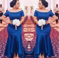 Wholesale High Low Prom Dress Cascade - Royal Blue Plus Size Bridesmaid Dresses 2018 Satin Short Sleeves Mermaid Maid Of Honor Gowns High Low Wedding Guest Prom Party Dress