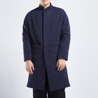 Wholesale coats chinese collars - Men Winter Jacquard Linen Cotton Jacket Chinese Style Plus Size Overcoat Male Casual Warm Long Parkas Coat 2018 dongguan_wholesale in stock