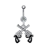 Swan Jo 1Pc 14G Double Gun Crystal Dangle Belly Button Кольца Ombligo Navel Пирсинг Украшения для тела Pircing Ombligo Umbigo Pirsings
