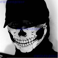 Wholesale Black Hood Mask - Black Ghost Face Mask Bike Bicycle CS Cosplay Sports Balaclava Skull Balaclava Hood Free Shipping
