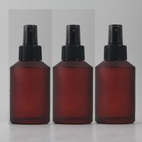 bomba de loción de plástico rojo al por mayor-Botella de la loción del vidrio esmerilado de la rosa del rojo 125ml con la bomba plástica negra, embalaje cosmético, botella cosmética, embalando para el líquido