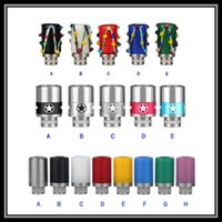 Wholesale Colorful Crown Rings - Colorful Granite Stone Drip Tips Captain America Crown Shaped Mouthpiece for 510 eGo Threading E Cigarette Airflow Adjustable AFC Rings