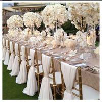 party chair sash al por mayor-Fiesta de la boda romántica de la gasa Aniversario Sash Party banquete decoraciones 20 piezas / Set Sash boda silla 150cmx50cm