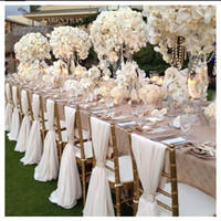 mariage de chaise achat en gros de-Romantic Chiffon Wedding Party Anniversary Chair Sash Party Banquet Décorations 20 pièces / Set Wedding Chair Sash 150cmx50cm