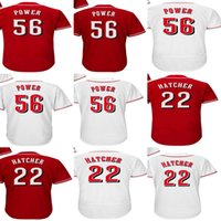 Wholesale Xs Power - Factory Outlet Personalize Mens Womens Kids Toddlers Cincinnati 56 Ted Power 22 Billy Hatcher Red White Flex Base Cool Base Baseball Jerseys