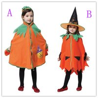 Wholesale Devil Children Set - kids Halloween 2pcs cosplay set children girls boy party cosplay performance props pumpkin garments witch red devil clothes 2style choose