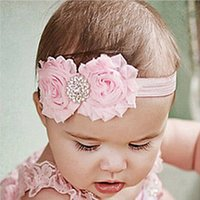 Wholesale Wholesale Quality Shabby Flowers - High Quality Baby Shabby Chiffon Flower Headbands With Rhinestone Girl Elastic Hairbands Hair Accessories Kids Christmas Hair band Headwear