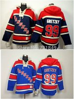 Wholesale Discounted Hockey Jerseys - Factory Outlet, Discount Mens ny New York Rangers hooded Jerseys #99 Wayne Gretzky Old Time Hockey Hoodies Sweatshirts Size M--2XL