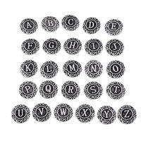 Wholesale Initial Silver - initial A-Z alphabet letter Noosa chunk metal alloy ginger snap buttons for ginger snap bracelet DIY jewelry