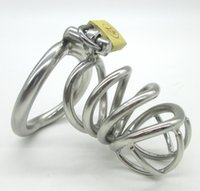 Wholesale Curved Stainless Chastity Belt - Latest Design Stainless Steel Male Chastity device Adult Cock Cage With Curve Cock Ring BDSM Sex Toys Bondage Chastity belt