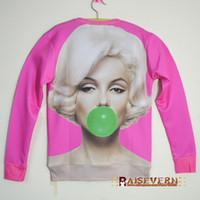 filles automne vêtements rose achat en gros de-Automne rose femmes vêtements pulls marilyn monroe imprimer sweat-shirt 3d fille sexy mode 3d hoodies chandail plus la taille