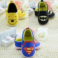 Wholesale Baby Shoes Winnie - Baby Boys Winnie Batman Superman First Walker Shoes soft Non-slip toddler shoes Kids Babies first walker shoes