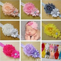 Wholesale Shabby Flower Crystal - Shabby New Baby Headbands Satin And Chiffon Flower With Crystal Rhinestones Baby Head Bands Girl Kids Hair Accessories Free Shipping