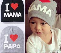 Wholesale Infant Sleep Hat - Newborn baby cotton cap infant lovely rabbit sleeping hat I love papa mama bay hat kids cap