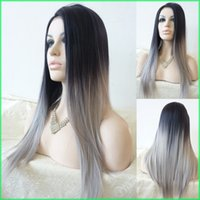 Wholesale Heat Resistant Synthetic Lace Wigs - Two Tone Ombre Synthetic Lace Front Wigs,Silk Straight Ombre Silver Grey Heat Resistant Hair Lace Wigs,Natural-Black To Grey Lace Front Wigs