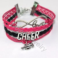 Grossiste-Mode Bijoux Vintage Argent J'aime Cheering Charm Multilayer Cheveux Braided Cheer Bracelets Bracelet Femmes