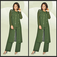 Wholesale Single Color Beads - 3 Pieces 2016 Chiffon Mother Of The Bride Pant Suits Jewel Long Sleeves Army Green Plus Size Mother Dress Evening Party Gowns Cheap
