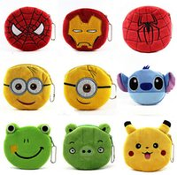 Wholesale Card Cute Design - new arrive 34 designs QQ expression minion spiderman Iron man Coin Purses cute emoji coin bag plush pendant smile wallet D453