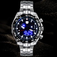 Wholesale Tvg Blue Binary Watch - Sports LED Watch Men's Wristwatch High-end watche TVG Brand Luxury Business Casual Watches Men Fashion Blue Binary Man Watch Stainless Steel